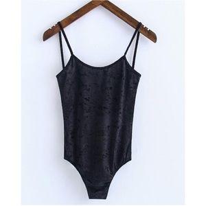 Brandy Melville Black Velvet Reina Tank Bodysuit